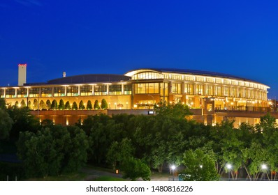 Hartford Connecticut - July 21, 2019: The Connecticut Convention Center at night. The center is a convention center located in downtown Hartford, Connecticut, USA overlooking the Connecticut River.
