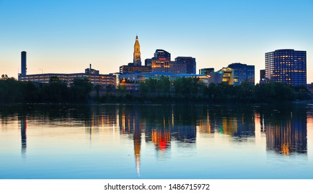 Hartford Connecticut - July 22, 2019:  The beautiful sunset over Connecticut River at Hartford Connecticut. Photo shows the skyline of Hartford at sunset.