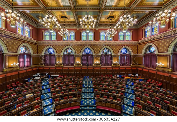 HARTFORD, CONNECTICUT - JULY 23: House of Representatives chamber in the Connecticut State Capitol on July 23, 2015 in Hartford, Connecticut
