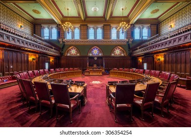 HARTFORD, CONNECTICUT - JULY 23: Senate chamber in the Connecticut State Capitol on July 23, 2015 in Hartford, Connecticut