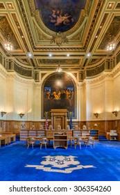 HARTFORD, CONNECTICUT - JULY 23: Connecticut Supreme Court chamber on July 23, 2015 in Hartford, Connecticut