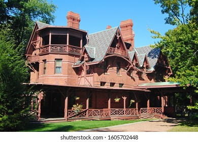Hartford, Connecticut, United States of America - September 27, 2014. Exterior view of Mark Twain House and Museum in Hartford, CT.