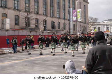 Hartford, Connecticut - United States - March 10 2018 - Bagpipe band participates in the St. Patrick's Day parade