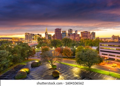 Hartford, Connecticut, USA downtown skyline at dusk in early autumn.