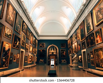 Hartford, Connecticut,United States.November 21st,2018.An art exhibition inside a gallery of The Wadsworth Atheneum Museum of Art in New England Hartford, Connecticut.