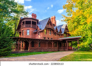 Hartford, CT- OCTOBER 15: The Mark Twain House and Museum on October 15, 2014. It was the home of Samuel Langhorne Clemens (a.k.a. Mark Twain) from 1874 to 1891 in Hartford, Connecticut.