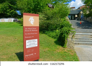HARTFORD, CT, USA - AUG. 16, 2015: Sign of entrance to Mark Twain House. Mark Twain House and Museum was the home of Mark Twain from 1874 to 1871 with American High Gothic style in downtown Hartford,