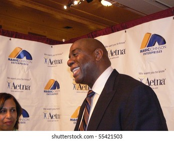 HARTFORD, CT-MAY 18: Magic Johnson speaks about fitness and weight loss at Aetna Life Insurance May 18, 2009 in Hartford, CT.