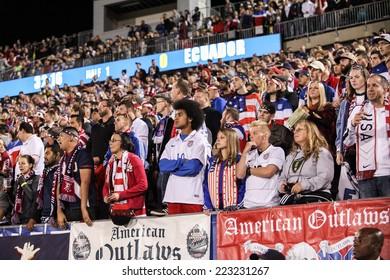 HARTFORD - OCTOBER 10:   Unidentified fans at U.S. Men`s International Friendly  vs Ecuador at Rentschler Field on October 10, 2014 in East Hartford,