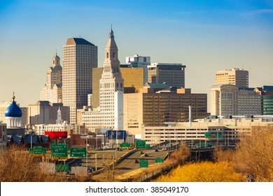 Hartford skyline on a sunny afternoon. Hartford is the capital of Connecticut.