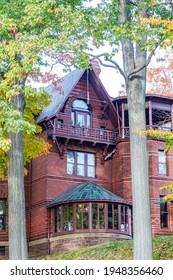 Hartford, USA - October 27, 2015: Mark Twain house in Hartford, Connecticut. The former home of Mark Twain serves as museum nowadays.