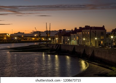 Hartlepool, Cleveland / England - October 17th 2018 : Hartlepool Headland at sunset. Located on the north east coast of England.