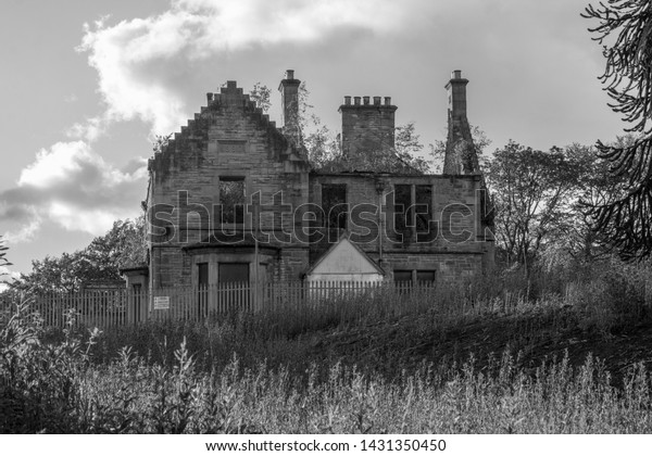 Hartwood hospital psychiatric asylum - Medical Superintendent's House, two storey and attic sandstone former dwelling with crowstepped gables, dated 1890. Lanarkshire, Scotland