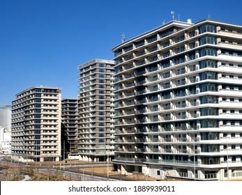 Harumi, Tokyo, Japan-December 23, 2020: Olympic Village under construction at Harumi Pier.