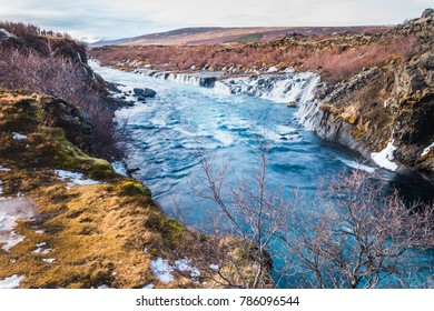 Harunfossar waterfalls, Iceland. One of the beautiful waterfalls in Iceland. Hraunfossar, a waterfall formed by rivulets streaming over Hallmundarhraun.