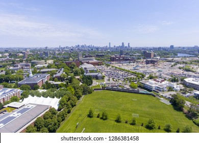 Harvard Business School aerial view in Allston with Boston skyline at the background, Boston, Massachusetts, USA.