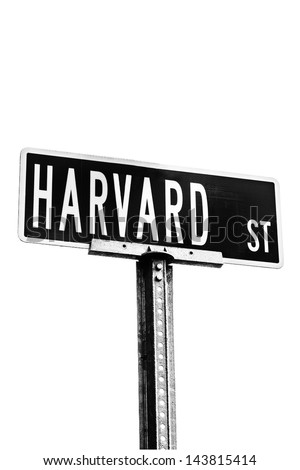 Harvard Street Sign Isolated Against White Background Black And High Contrast Image Location