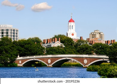 Harvard University footbridge on Charles River, Cambridge, Massachusetts