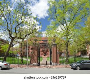 Harvard University Gate in the Spring