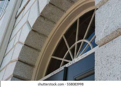HARVARD UNIVERSITY, HARVARD, MA, USA - CIRCA OCTOBER 2016: Detailed view of one of the many architectural doorways at the University, leading to the halls and libray's within the building.