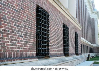 HARVARD UNIVERSITY, HARVARD, MA, USA - CIRCA OCTOBER 2016: External view of the library showing the brickwork at the famous Harvard University.