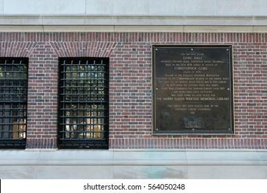 HARVARD UNIVERSITY, HARVARD, MA, USA - CIRCA OCTOBER 2016: Large metal plaque seen on the side of a building at the famous Harvard University.