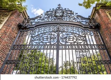 Harvard University's iron gate in Cambridge, Massachusetts, USA.