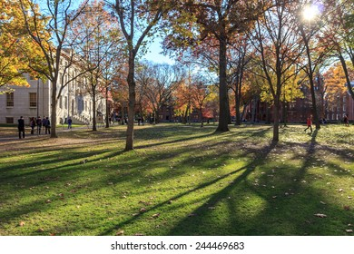 Harvard Yard, old heart of Harvard University campus, on a beautiful fall day in Cambridge, MA, USA on November 12, 2010.