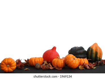 Harvest Arrangement Isolated with White Space (pumpkins, red kuri squash and green acorn squash)