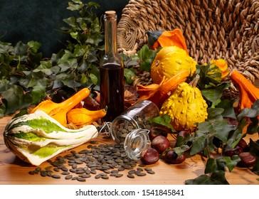 harvest autumn pumkins seeds oil