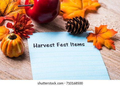 Harvest Fest Items list concept on notebook and wooden board