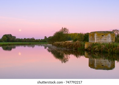 Harvest moon over the river thames at Lechlade, Gloucestershire