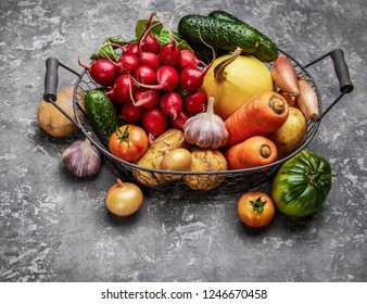 Harvest vegetables with herb kitchen garden on grey concrete surface top view. Healthy food and vegan food still life garden inventory.