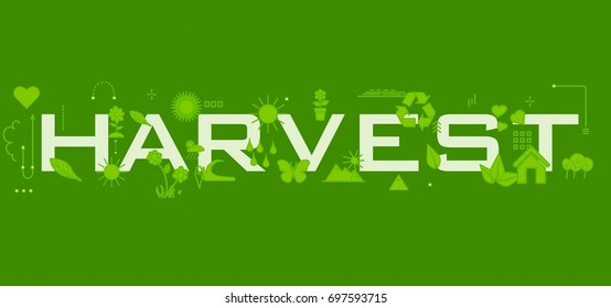 Harvest word with icons.