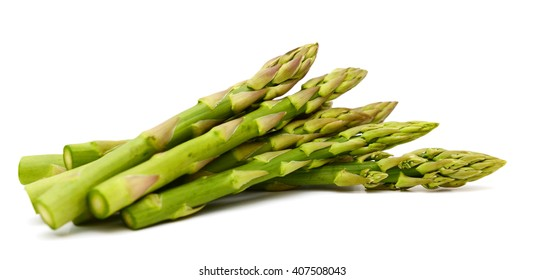 harvested asparagus isolated on white