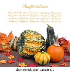 Harvested pumpkins with fall leaves isolated on white