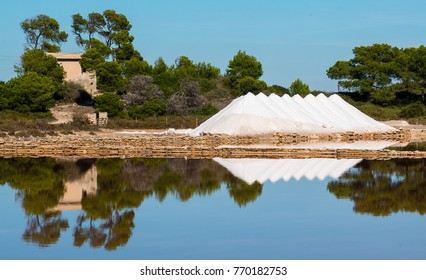 Harvested sea salt from the salt flats at Salines De Colonia Saint Jordi, Mallorca, Spain.