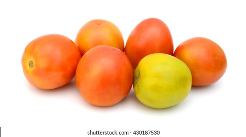 harvested tomatoes isolated on white