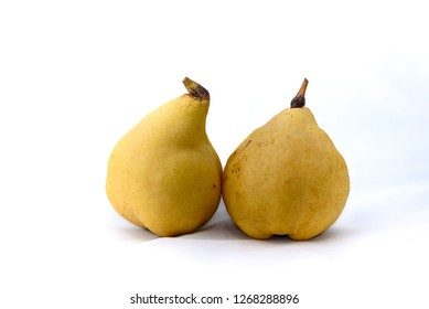 Harvested Yellow pear fruit, white background