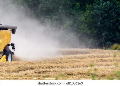 Harvester in cornfield