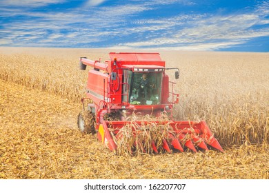 harvester in the field, harvest, autumn on a clear day