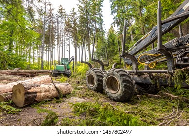 Harvester (heavy forestry vehicle) working in the European mixed forest
