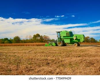Harvester Machine in Soybean Field