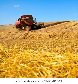 Harvester at work in wheat fields.