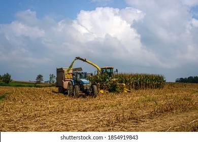 Harvesting corn at Antietam National Battlefield in Sharpsburg, Washington County, Maryland, USA, September 18, 2017