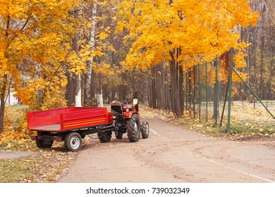 harvesting equipment, tractor with trailer