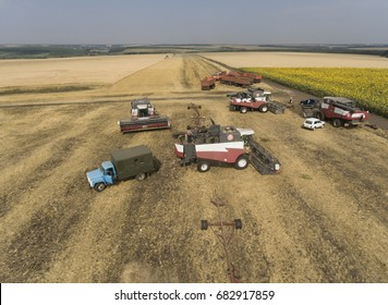 Harvesting harvesters on a wheat field from a bird's eye view.