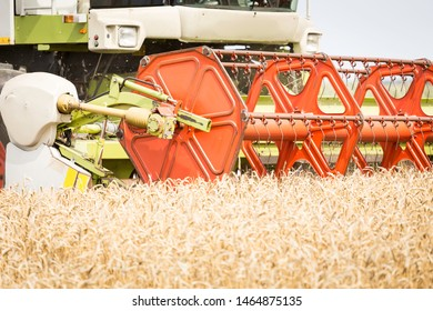 Harvesting machine on the wheat field