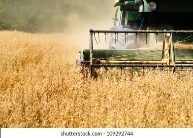 Harvesting machine in wheat crops