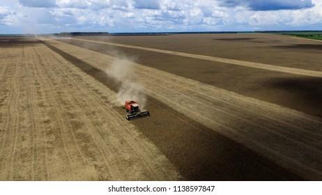 Harvesting soybean field in Brazil.